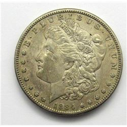 1884-S BETTER DATE MORGAN DOLLAR AU
