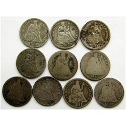 10 - SEATED DIMES , MIXED DATES & GRADES