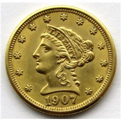 1907 $2.5 DOLLAR LIBERTY HEAD GOLD QUARTER EAGLE