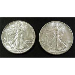 (2) 1942 WALKING LIBERTY HALF DOLLARS AU/BU