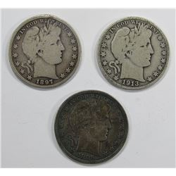 3- BARBER HALF DOLLARS: 1897, 1906-D, 1913-S