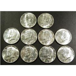 (10) 1965 KENNEDY HALF DOLLARS AU/BU