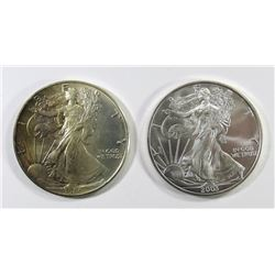 1986 & 2003 AMERICAN SILVER EAGLES