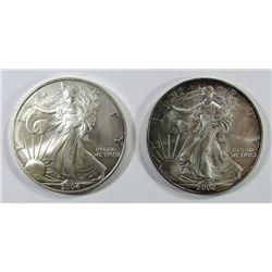 2004 & 2002 AMERICAN SILVER EAGLES