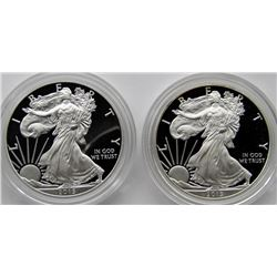 2013 & 2015 PROOF AMERICAN SILVER EAGLES