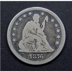 1876-CC SEATED QUARTER- VG/FINE