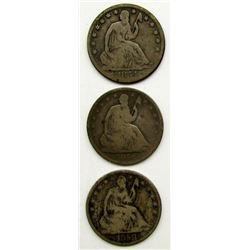 3-SEATED HALF DOLLARS: 1854-O, 1856-O, 1858-O