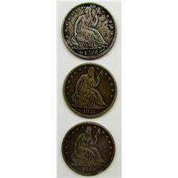 3-SEATED HALF DOLLARS: 1859, 1875, 1876