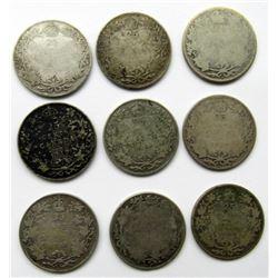 9-CANADA EARLY 1900s 25c CIRC