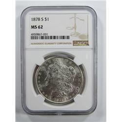 1878-S Morgan Silver Dollar $ NGC MS 62 Blast Whit