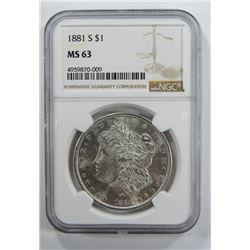 1881-S Morgan Silver Dollar $ NGC MS 63 Blast Whit