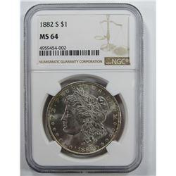 1882-S Morgan Silver Dollar $ NGC MS 64