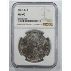 1884-O Morgan Silver Dollar $ NGC MS 60 Blast Whit