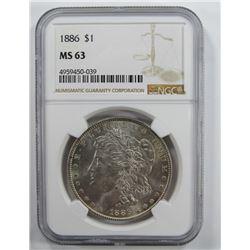 1886-P Morgan Silver Dollar $ NGC MS 63