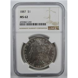 1887-P  Morgan Silver Dollar $ NGC MS 62