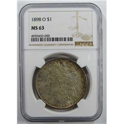 1898-O Morgan Silver Dollar $ NGC MS 63 Lightly To