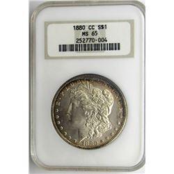 1880-CC 8 OVER 7 MORGAN $ NGC MS 65