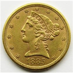 1885-S $5 Five Dollar Gold Liberty