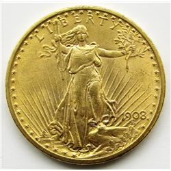 1908-P Twenty Dollar $20 Saint Gaudens Gold BU