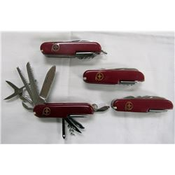 4 VINTAGE SWISS ARMY KNIVES