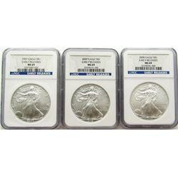 2007 - 2008 - 2009 .999 SILVER EAGLE U.S. $ EARLY