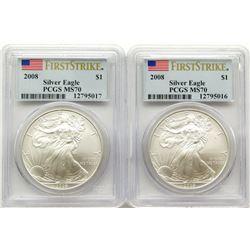 2 - 2008'S .999 SILVER EAGLE U.S. $1 FIRST STRIKE