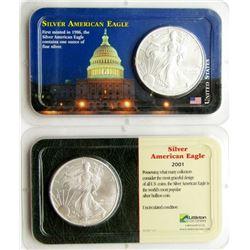 2000 & 2001 .999 SILVER EAGLES U.S. $1 COINS