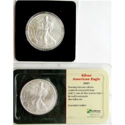 2001 & 2005 .999 SILVER EAGLES U.S. $1 COINS