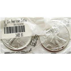 1991 & 2002 .999 SILVER EAGLES U.S. $1 COINS