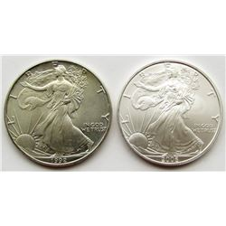 1992 & 2006 .999 SILVER EAGLES U.S. $1 COINS