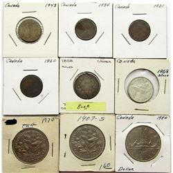 1858 CANADA 20 CENTS HOLED; 1920, 1921,1934, 1943