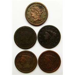 5-LARGE CENTS:  1837, '48, '51, '52, '53