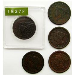 5-LARGE CENTS:  1830, '37, '45, '53, '54