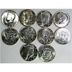 10 - 1965 KENNEDY HALF DOLLARS