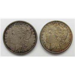 1878 8F MORGAN F; 1899-O XF TONED