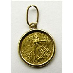24KT GOLD MINITURE COIN IN GOLD BEZEL