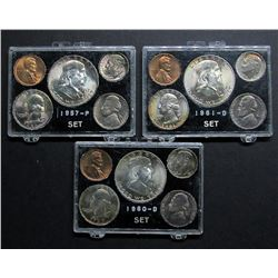 TONED US SETS:  1957-P, 1960-D, 1961-D