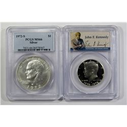 2-PCGS SILVER COINS; 1972-S SILVER IKE