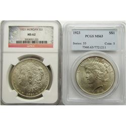 2 - SILVER DOLLARS: 1923 PEACE PCGS MS63