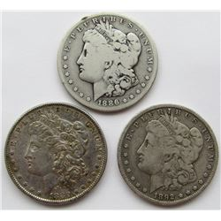1880-O, 1892-O, 1886-S MORGAN DOLLARS
