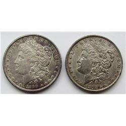 2 - AU MORGAN DOLLARS: 1890 & 1898