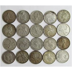 LOT of 20 CANADA SILVER QUARTERS