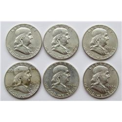 6 FRANKLIN HALF DOLLARS AU/BU