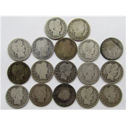 BARBER QUARTER LOT OF 17 COINS