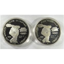 2 - 1983 PROOF OLYMPIC SILVER DOLLARS