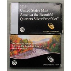 2 U.S. SILVER PROOF QUARTERS SETS- 2011 & 2013
