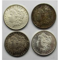 4-MORGAN DOLLARS:  1882-S, '80-S, '83-O,