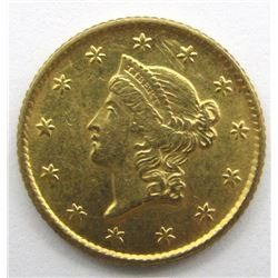 1849 OPEN WREATH $1 GOLD LIBERTY