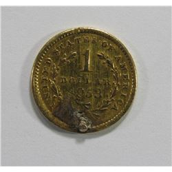 1853 $1 LIBERTY GOLD COIN X- JEWELRY REV