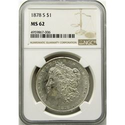 1878-S Morgan Silver Dollar $ NGC MS 62